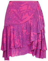Diane von Furstenberg Paloma Wrap-effect Ruffled Printed Mesh Mini Skirt - Pink