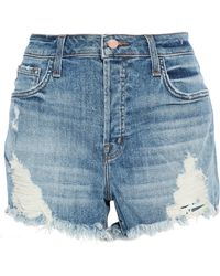 J Brand - Distressed Faded Denim Shorts Mid Denim - Lyst