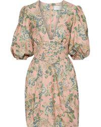 Zimmermann Tempest Lace-up Floral-print Silk Mini Dress Peach - Multicolour