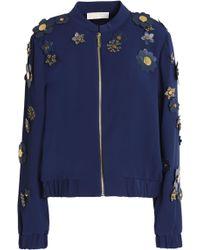 MICHAEL Michael Kors - Floral-appliquéd Crepe Jacket - Lyst