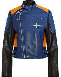 Acne Studios - Locke Appliquéd Color-block Leather Biker Jacket - Lyst