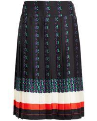 Tory Burch Carmine Pleated Printed Silk-twill Skirt Navy - Blue