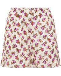 American Vintage Floral-print Crepe De Chine Shorts - Multicolour