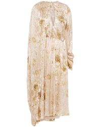 Magda Butrym Vasto Cape-effect Floral-print Silk-satin Jacquard Midi Dress - Natural