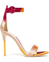 Gianvito Rossi Color-block Satin Sandals - Orange