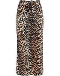Ganni Bow-detailed Leopard-print Silk-blend Satin Midi Skirt Animal Print - Black