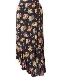 Preen Line Sibyll Floral-print Crepe De Chine Midi Wrap Skirt - Black