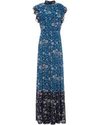 Mikael Aghal Pleated Ruffled Floral-print Chiffon Maxi Dress - Blue