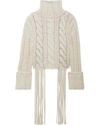 Area Crystal-embellished Fringed Cable-knit Cotton-blend Turtleneck Jumper White