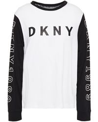 DKNY Printed Cotton-blend Jersey Pyjama Top White
