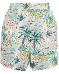 Onia Gathered Printed Cotton Shorts - Multicolour