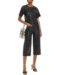 Stand Studio Sherlyn Cropped Faux Leather Top - Black