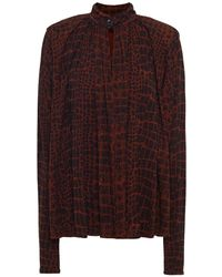 Proenza Schouler Gathered Printed Jersey Blouse - Multicolour