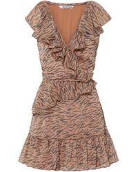 Walter Baker Shelly Wrap-effect Ruffled Tiger-print Crepon Mini Dress - Brown