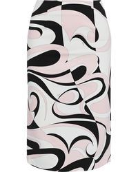 Emilio Pucci Printed Stretch-cady Pencil Skirt Pastel Pink