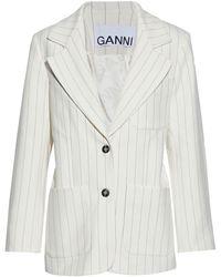 Ganni Prince Of Wales Checked Woven Blazer - White