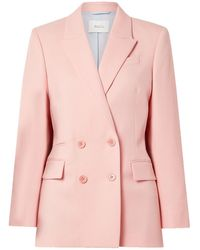 Racil Archie Double-breasted Wool-twill Blazer Baby Pink