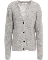 Gestuz Mélange Brushed Knitted Cardigan - Grey