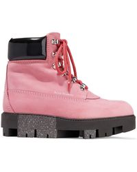Acne Studios - Telde Patent Leather-trimmed Suede Snow Boots - Lyst