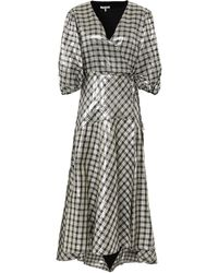 Ganni Checked Silk-blend Lamé Midi Wrap Dress - Metallic