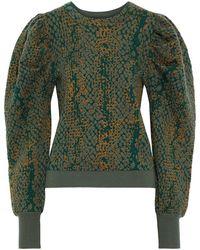 Ulla Johnson Gemma Gathered Jacquard-knit Wool Sweater - Green