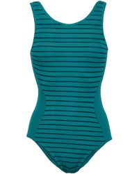 Jets by Jessika Allen Parallels Striped Swimsuit Teal - Blue