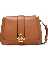 MICHAEL Michael Kors Logo-embellished Leather Shoulder Bag Light Brown