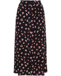 Gestuz Floral-print Crepe Midi Skirt - Black