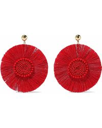 Kenneth Jay Lane - Woman Gold-tone, Fringe And Bead Earrings Red - Lyst