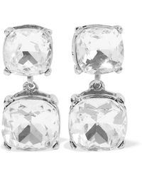 Kenneth Jay Lane - Silver-tone Crystal Clip Earrings Silver - Lyst