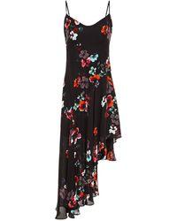 Nicholas Asymmetric Floral-print Silk Crepe De Chine Dress - Black