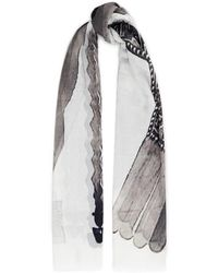 Rick Owens Drkshdw Printed Cotton-gauze Scarf White