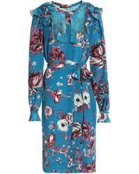Roberto Cavalli - Floral-print Silk-crepe Shirt Dress - Lyst