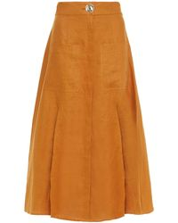 Nicholas Masala Linen Midi Skirt - Multicolour