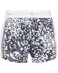 adidas By Stella McCartney Mesh-paneled Leopard-print Shell Shorts White