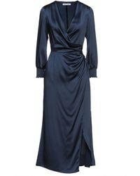 Reformation Wrap-effect Draped Silk-satin Midi Dress - Blue