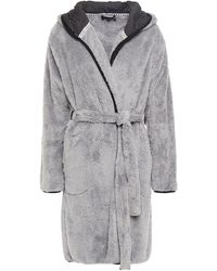 DKNY Embroidered Fleece Hooded Robe Gray