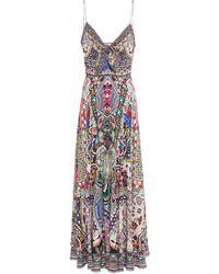 Camilla Crystal-embellished Knotted Silk Crepe De Chine Maxi Dress Fuchsia - Multicolour