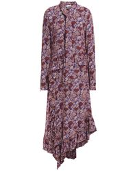 Hofmann Copenhagen Celia Asymmetric Ruched Jacquard Midi Dress Burgundy - Purple