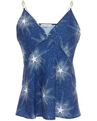 Paco Rabanne Chain-trimmed Printed Crepe De Chine Camisole Größe 42 - Blue