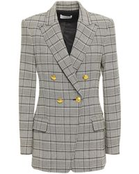 A.L.C. Sedgwick Ii Double-breasted Prince Of Wales Checked Woven Blazer Stone - Black