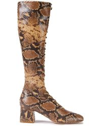 Zimmermann Lace-up Snake-effect Leather Knee Boots Animal Print - Brown
