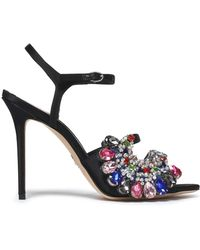 Paula Cademartori - Woman Embellished Satin Sandals Black - Lyst