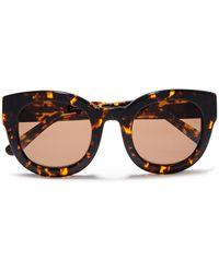 Ganni Round-frame Acetate Sunglasses Dark Brown - Multicolour