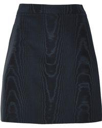 Adam Lippes Cotton-blend Moire Mini Skirt Navy - Blue