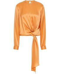 Michelle Mason Tie-front Silk-charmeuse Blouse - Orange
