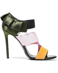 Emilio Pucci - Color-block Satin, Stretch-knit And Suede Sandals - Lyst