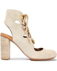 See By Chloé See By Chloé Edna Lace-up Suede Ankle Boots Cream - Natural