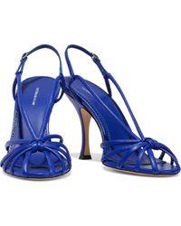 Victoria Beckham Brigitte Knotted Leather Slingback Sandals Cobalt Blue