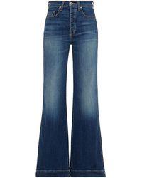Veronica Beard High-rise Flared Jeans Mid Denim - Blue